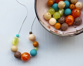 butterfly garden - necklace, vintage beads - orange, lime, turquoise - gardener gift