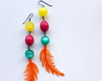 warm up exercise - earrings - long earrings - shoulder duster - neon - pink, orange, teal, yellow