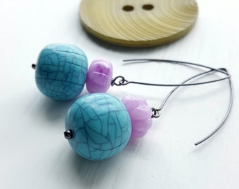 cactus flower earrings - vintage beads, sterling silver - chunky jewellery - boho earrings - turquoise lavender purple