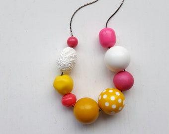 princess bubblegum necklace - original version - vintage remixed beads - polka dot, pink, yellow, white