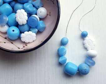 cornflower - necklace - spring jewelry - blue, french blue, asymmetry - vintage beads, flower necklace