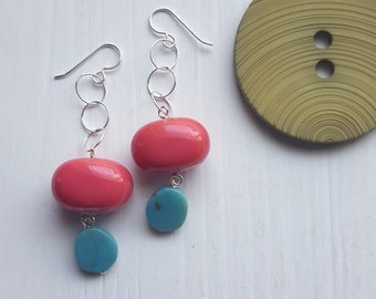making out at the drive-in - earrings - fuchsia, aqua, turquoise, pink - sterling silver chain earrings