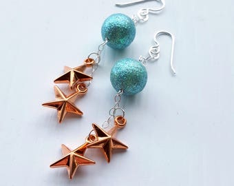twinkle twinkle - earrings - vintage lucite and sterling - stars glitter earrings