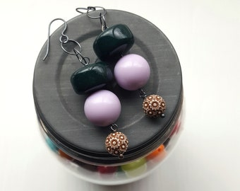 lilac tree - earrings - forest green, lavender, chocolate brown - floral earrings - lighweight jewellery - sterling silver
