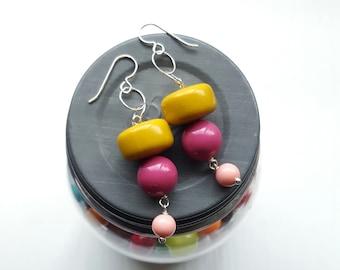 mischief - earrings - mustard, magenta, pink - sterling silver chain earrings - chunky jewellery - lightweight earrings