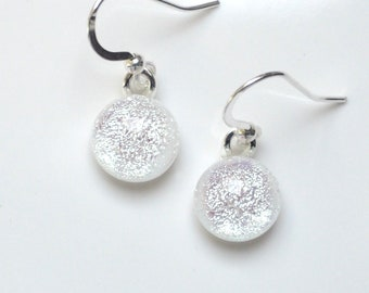 Silver White Glass Earrings - Sparkling Dichroic Glass Fused Drop Earrings - Dichroic Glass Jewellery - Fired Creations Glass - EE 1140