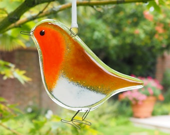 Red Robin - Christmas Robin Decoration - Tree Decoration - Fused Glass Robin - Handmade Glass Robin - Xmas Tree Decoration - ED 1006