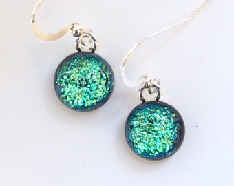 Aqua Turquoise Glass Earrings - Aqua Blue Green Dichroic Glass Earrings - Round Earrings Jewellery - Fired Creations Glass - EE 1146