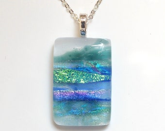 Seascape Fused Dichroic Glass Necklace - Seascape Pendant - Glass Jewellery Necklace - Handmade Jewellery Horsham Sussex EP 1148