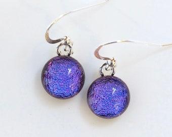 Purple Pink Glass Earrings - Purple Magenta Dichroic Glass Earrings - Round Purple Jewellery - Fired Creations Glass - EE 1144