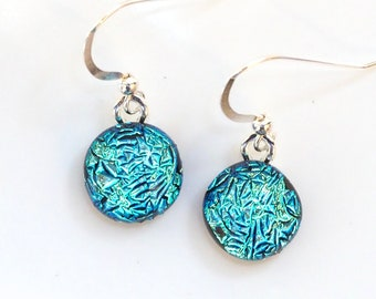 Ice Blue Glass Earrings - Light Blue Dichroic Glass Earrings - Round Blue Jewellery - Fired Creations Glass - EE 1143
