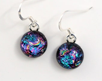Purple Magenta  Pink Glass Earrings - Rainbow Dichroic Glass - Round Dangly - Purple Pink Jewellery - Fired Creations Glass - EE 1152