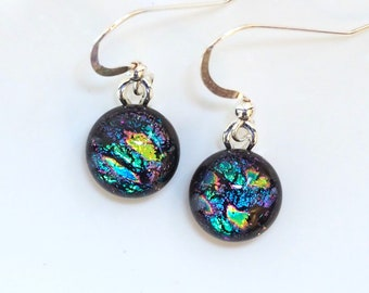 Blue Green Pink Glass Earrings - Rainbow Dichroic Glass Earrings - Round Dangly - Blue Green Jewellery - Fired Creations Glass - EE 1145