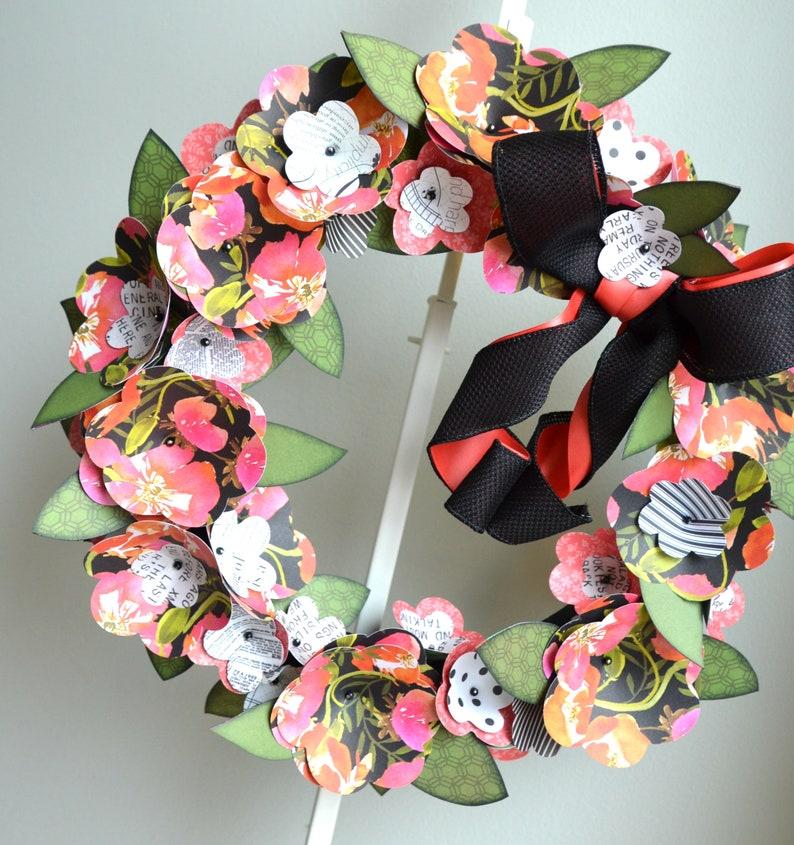 Handmade Bright Pink and Black Paper Flower Wreath Orange