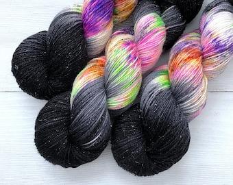 Coven - Glam Rock Sparkle Sock Yarn -  Handpainted Superwash Merino - 438 Yards
