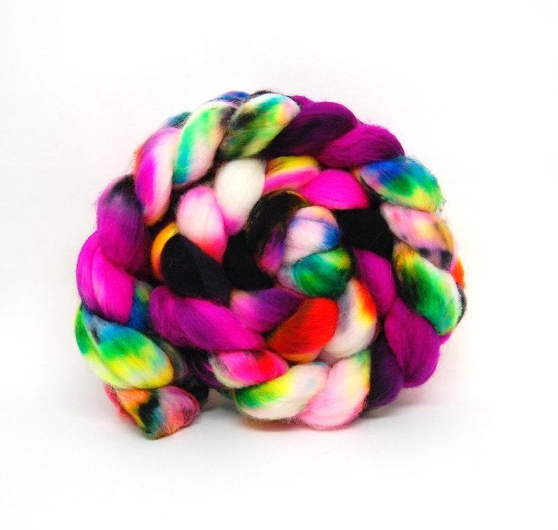 Rave '03  Handpainted Superwash Merino Wool Roving  4 oz image 0