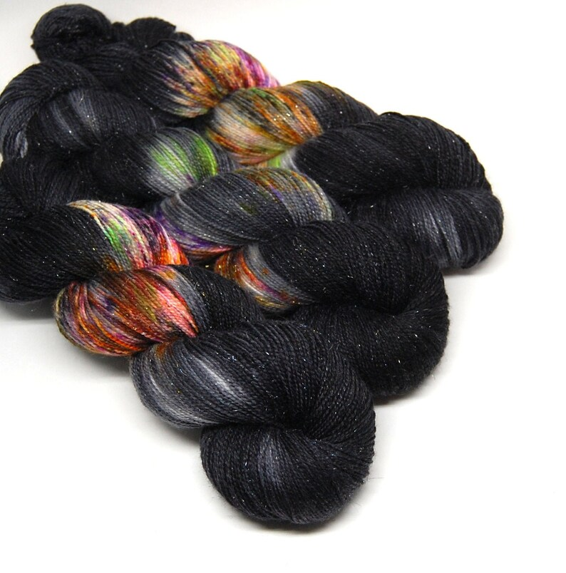 Coven  Glam Rock Sparkle Sock Yarn   Handpainted Superwash image 0