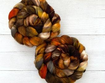 Handpainted Superwash Merino Wool Roving - 4 oz