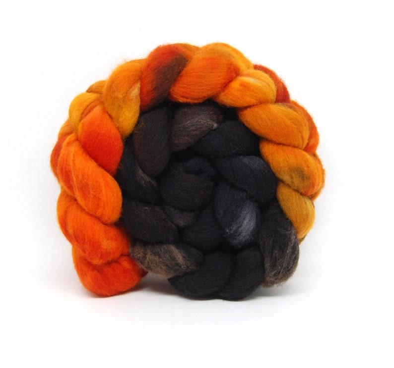 Samhain  Handpainted Targhee Wool Roving  4 oz  Orange Brown image 0