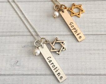 Bat Mitzvah Necklace - Bat Mitzvah Gift - Bat Mitzvah Jewelry - Bat Mitzvah Charm Necklace - Star of David Necklace - Hanukkah Gift