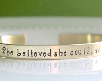 She Believed She Could Bracelet, Personalized Bracelet, 2018 Graduation Gift, Senior Gift, Inspirational Gift, Graduation Jewelry