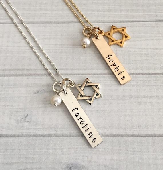 2b064b6ea584f Bat Mitzvah Necklace, Bat Mitzvah Gift, Bat Mitzvah Jewelry, Bat Mitzvah  Charm Necklace, Star of David Necklace, Hanukkah Gift