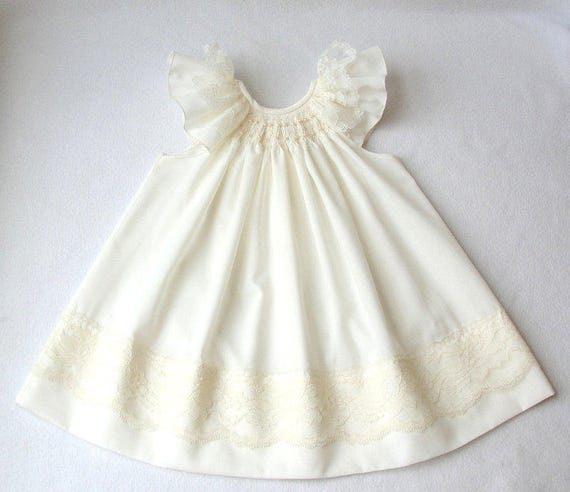 254f49d9f Smocked Baby Dress Smocked Christening dress in white or