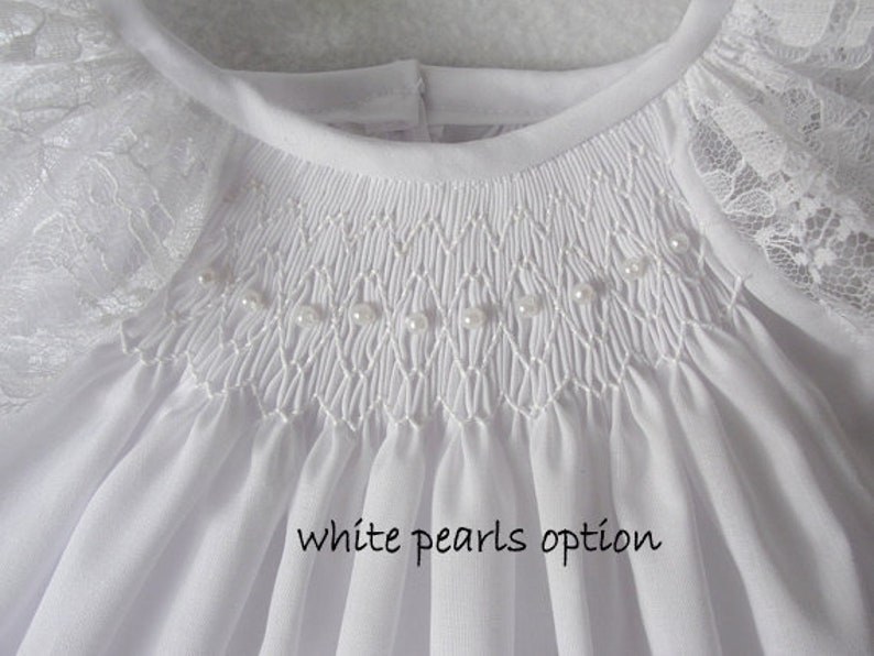 Ivory or White Bishop Dress Smocked christening gown baptism dress Smocked Baby Dress baby flower girl dress flower baby dress