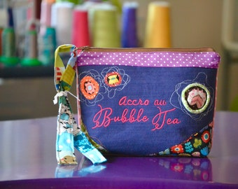 """Pencil case, embroidery on blue jeans """"Accro au  Bubble Tea"""" on the front, patchwork, flower pattern fabric, mauve fabric with white dots"""