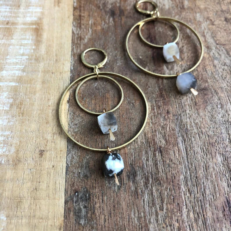 Brass hoops with dendritic opal