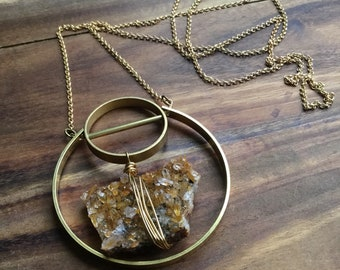 Quartz cluster and brass circles necklace