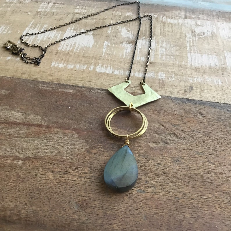 Labradorite and hammered brass layering necklace