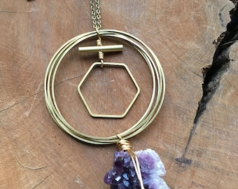 Raw amethyst and brass necklace
