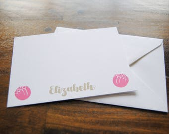 Personalized Notecards, ELIZABETH, Personalized Stationery Cards, Custom Stationery, Note Cards Personalized, Thank You Cards Kids, Tulips