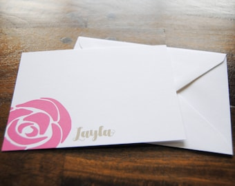Personal Stationery, LAYLA, Flat Notecards with Envelopes, Custom Notecards, Blank Notecards, Personalized Stationery Set, Pink Flowers