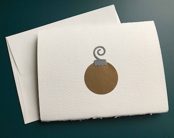 Die-cut Christmas Ornament Card, Merry Christmas Ornament Card, Blank Note Card, Blank Holiday Card, Holiday Greeting, Antique Gold and Gray