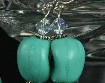 Nantucket Vintage Turquoise Carved Beads Earrings