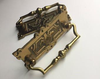 Vintage Brass Drawer Pulls//Vintage Brass//Set of 2 Pulls//Ornate Drawer Pulls//B.L.S RD number 137619 stamped//Upcycle Handles//New Handles
