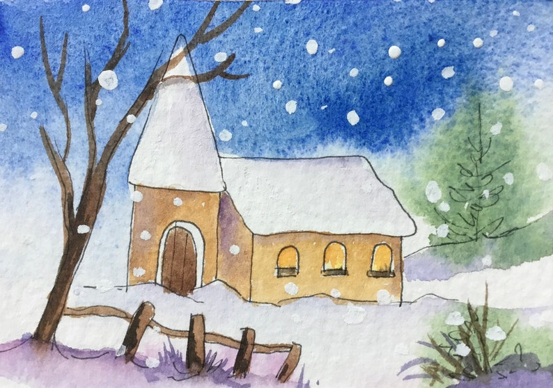 Church in the Snow An Original ACEO watercolour miniature painting 2.5\u201d x 3.5\u201d by Pamela West ATC Art and Collectible
