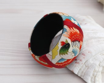 Small Japanese Kimono fabric bangle