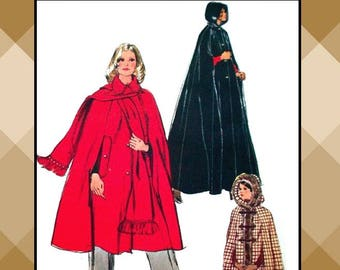 Vintage 1972-ROMANTIC CAPE COLLECTION-Sewing Pattern-Three Styles-Frog Fasteners-Hood-Fur Trim-Scarf-Lined-Uncut-Size Large- 16-18-Rare