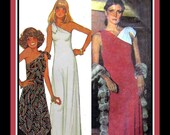 Vintage 1976-STUDIO 54-Sexy Evening Dress-Sewing Pattern-Tunic-Flared Pants-Shaped Hem-One Shoulder-Contrast Fabric-Size 10-12-Rare
