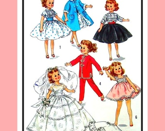242ce65b7b4d Vintage 1957 - Fashion Doll Wardrobe - Dress -Poodle Skirt -Petticoat-Coat  -Wedding Gown- Peignoir - Sewing Pattern