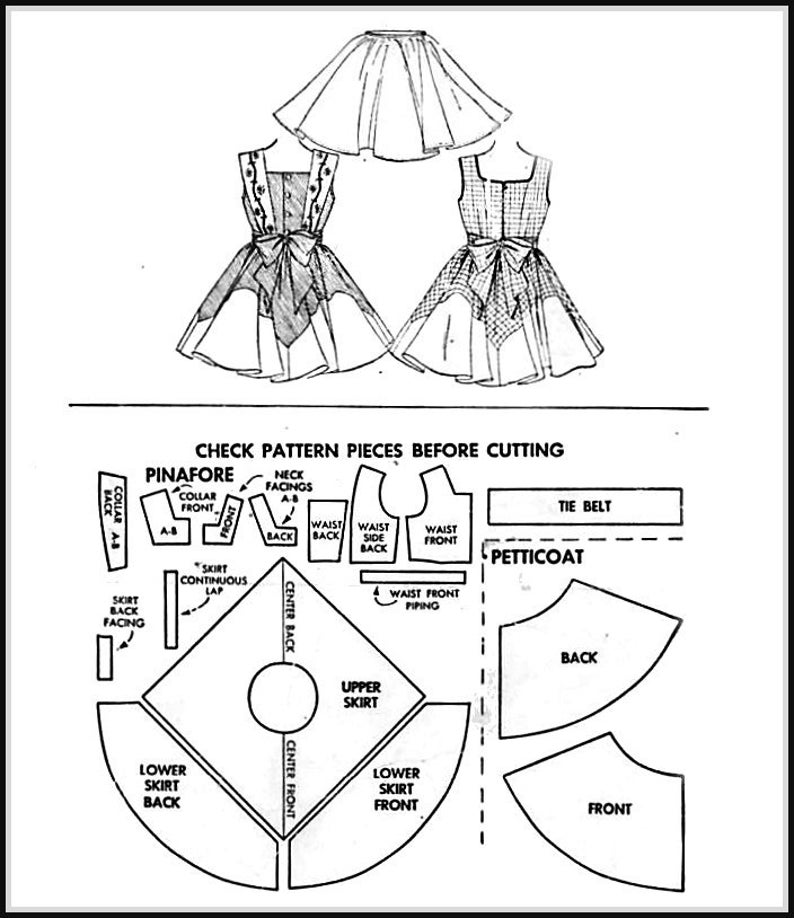 Vintage 1954-CHERRY TWIRL DRESS-Sewing Pattern-Embroidery Transfer-3 Styles-Shaped Lower Skirt-Square Collar-Crinoline Petticoat-Size 6-Rare