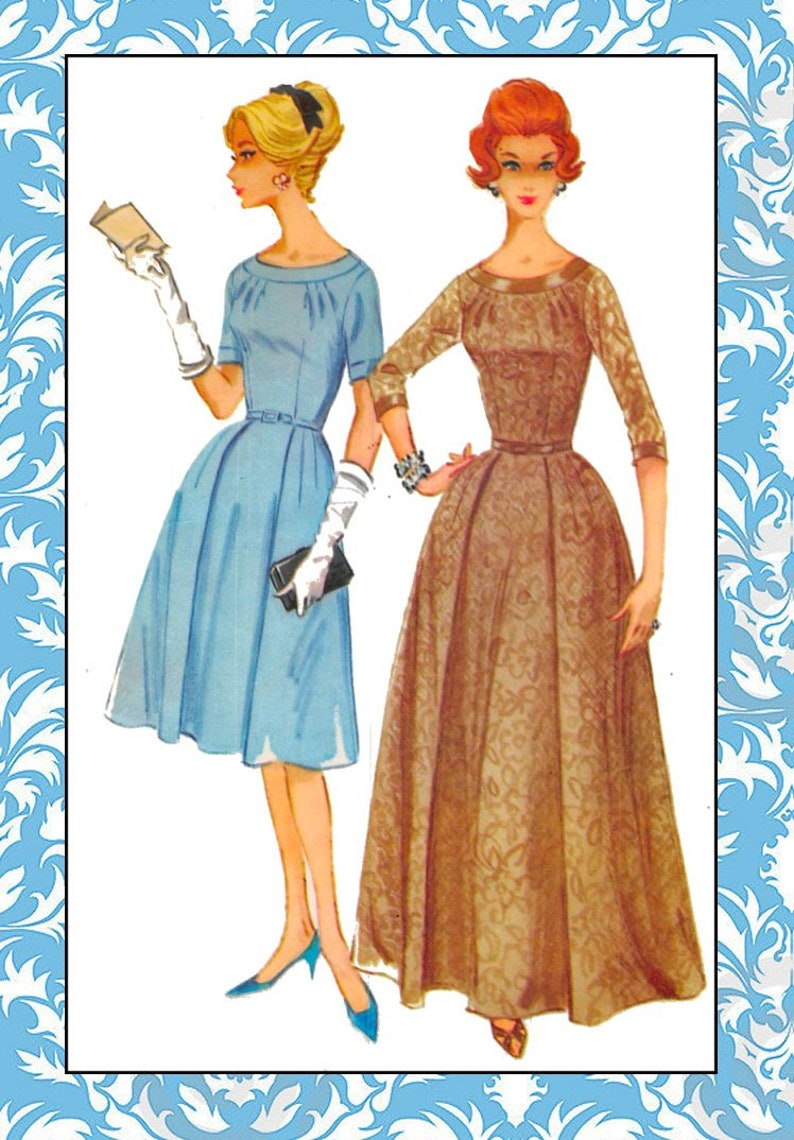 0d455dff461b Vintage 1960-LACE EVENING GOWN Sewing Pattern-Cocktail | Etsy