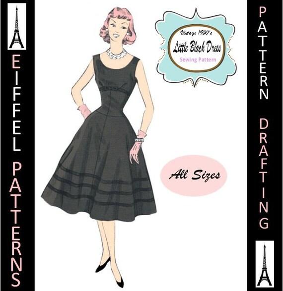 1950s-Cocktail DRESS-Empire Waist-Flared Flirt Skirt-Dropped | Etsy