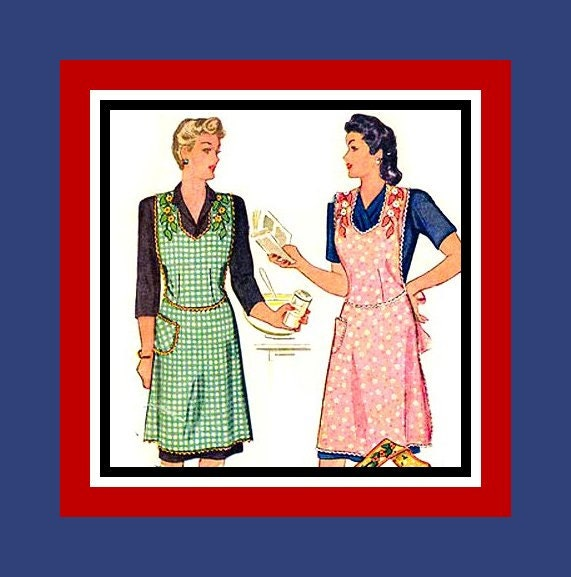 Vintage 1944 Slimming Apron With Transfer Sewing Pattern