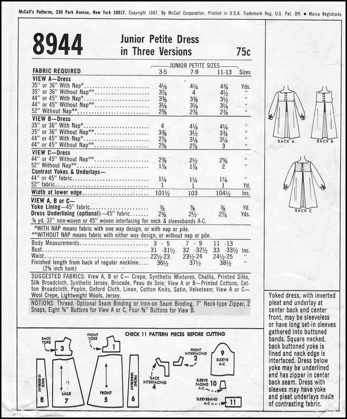 Jahrgang 1967-MOD-Trapez-Kleid-Schnittmuster-drei Stile-Kellerfalte ...