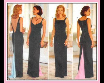 Vintage 1996-BOMBSHELL EVENING GOWNS-Designer Sewing Pattern-Sweetheart-Square Necklines-Deep V Back-Fishtail Back-Uncut-Size 6-12-Rare