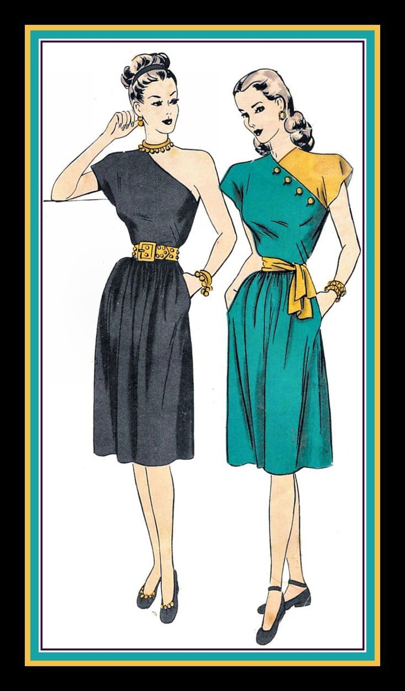 Vintage 1940S HOLLYWOOD GLAM STYLE Sewing Pattern Two Styles One Shoulder Cocktail Dress Color Block Day Dress Contrast Buttons Size 12 Rare